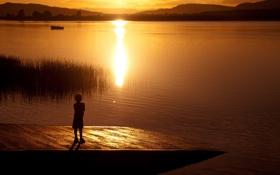 Обои закат, озеро, силуэт