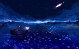 Картинка ночь, мальчик, Лодка, фонарь