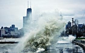 Обои chicago, usa, чикаго, небоскребы, шторм