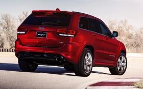 Картинка красный, внедорожник, задок, SRT, Jeep, Grand Cherokee