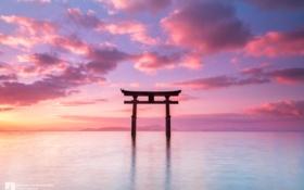 Обои облака, закат, океан, Япония, photographer, тории, Kenji Yamamura