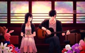Обои небо, девушка, облака, цветы, игрушки, гитара, поезд