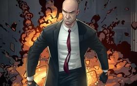 Обои взрыв, злой, киллер, Patrick Brown, агент 47, хатман, Hitman Absolution Launch