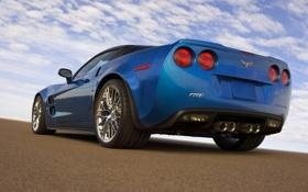 Обои Небо, Синий, Chevrolet, Машина, День, ZR1, corvette