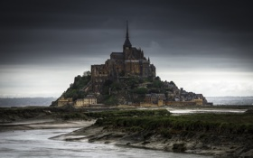 Обои Франция, Нормандия, Мон-Сен-Мишель, скалистый остров