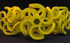 Картинка фон, линии, изгибы, символ, жёлтый