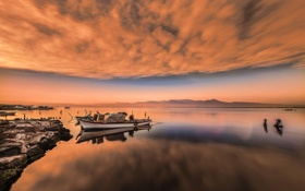 Картинка закат, озеро, лодки, катера