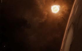 Обои атмосфера, планета, звезда, газовые облака, поверхность, кратеры, спутники