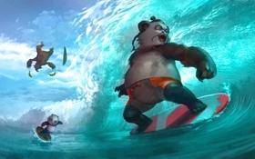 Обои фентези, океан, игра, волна, арт, панда, доска