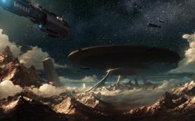 Обои звезды, скалы, планета, корабли, остов, арт, Auriga