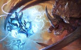 Картинка противостояние, зерг, Starcraft, протос