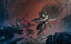 Картинка на демонов, арбалет, подземелье, броня, diablo 3, замок, охотник