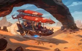 Обои пустыня, гонщик, летательный аппарат, Real-SonkeS