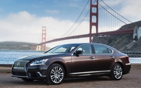 Картинка небо, Lexus, Лексус, седан, передок, 600h, мост.золотые ворота