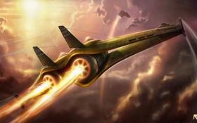 Обои огонь, двигатель, полёт, сопло, самолёт