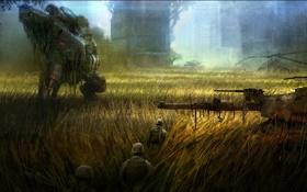 Обои поле, город, вертолет, солдаты, танк, Crysis 3