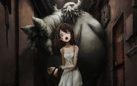 Картинка девушка, страх, аниме, дверь, арт, коридор, чудовище