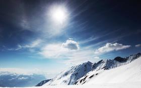 Обои небо, солнце, облака, снег, горы, природа, скалы