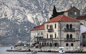 Обои Черногория, лодки, бухта, берег, дома, Хорватия, горы