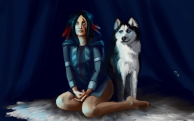 Картинка глаза, взгляд, девушка, волосы, собака, перья, арт