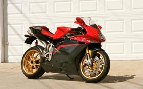 Картинка красный, чёрный, ворота, мотоцикл, red, bike, MV Agusta