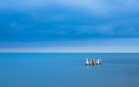 Обои море, небо, минимализм, опоры