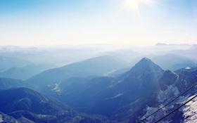 Картинка лучи, горы, природа, туман, провода