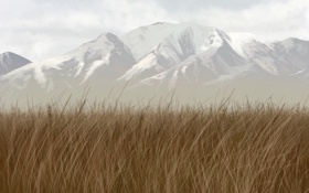 Картинка трава, снег, горы, вершины, арт, гряда