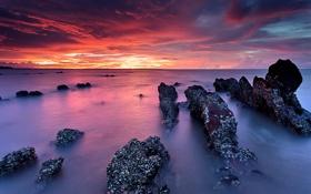 Обои закат, пейзаж, скалы, небо, природа, море