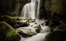 Картинка река, камни, водопад, мох, поток