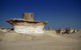 Картинка песок, небо, камни, скалы, пустыня, руины, qatar