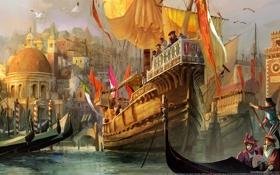 Обои город, чайки, арт, порт, Венеция, флаги, гавань