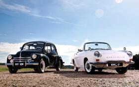 Картинка белый, небо, чёрный, Ford, Форд, Renault, Рено