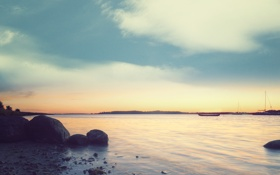 Картинка landscape, пейзаж, nature, закат, небо, water, shore