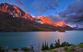 Обои лес, горы, свет, озера, Канада