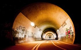 Обои дорога, свет, лампы, граффити, освещение, тоннель