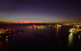 Обои огни, остров, Япония, порт, сумерки, Хонсю, Тиба