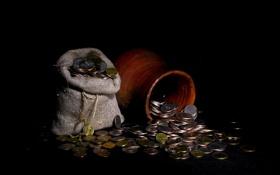 Обои деньги, монеты, композиция