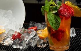 Обои лед, клубника, коктейль, ананас, мята