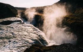Картинка горы, стихия, водопад, пар, каньон