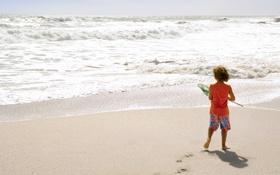 Обои песок, пляж, настроения, ребенок, мальчик, семья