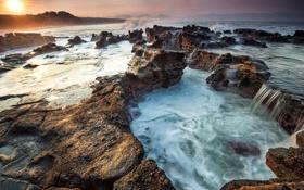 Обои восход, камни, побережье, Индонезия, Индийский океан, Indonesia, Indian Ocean