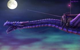 Обои полет, ночь, луна, дракон, арт, фонарь, копье