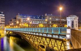 Картинка свет, снег, ночь, мост, город, огни, река