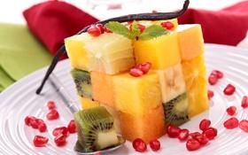 Картинка кубики, апельсин, киви, тарелка, фрукты, манго, ананас