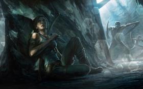 Картинка девушка, монстры, Tomb Raider, пещера, лара крофт