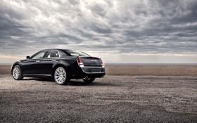 Обои тучи, Авто, Черный, Chrysler, Машина, Седан, 300