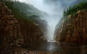 Обои деревья, река, скалы, ель, арт, ущелье, хвойные
