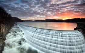 Обои закат, пейзаж, водопад