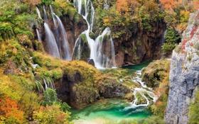 Картинка пейзаж, горы, природа, водопады, каскад, лазурь, waterfall